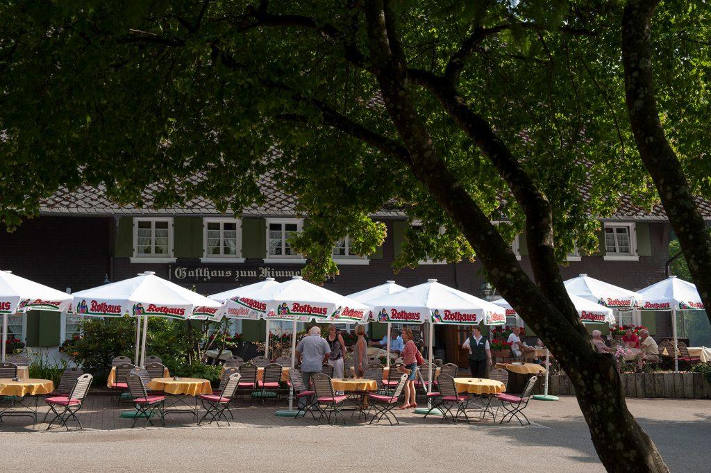 Blick auf den Außenbereich des Hofguts. Menschen sitzen an Tische, helle Rothaus-Sonnenschirme spenden Schatten. Im Vordergrund ein Baum.