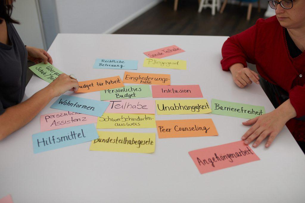 Ein Tisch mit vielen beschrifteten Moderationskarten. Stichworte wie