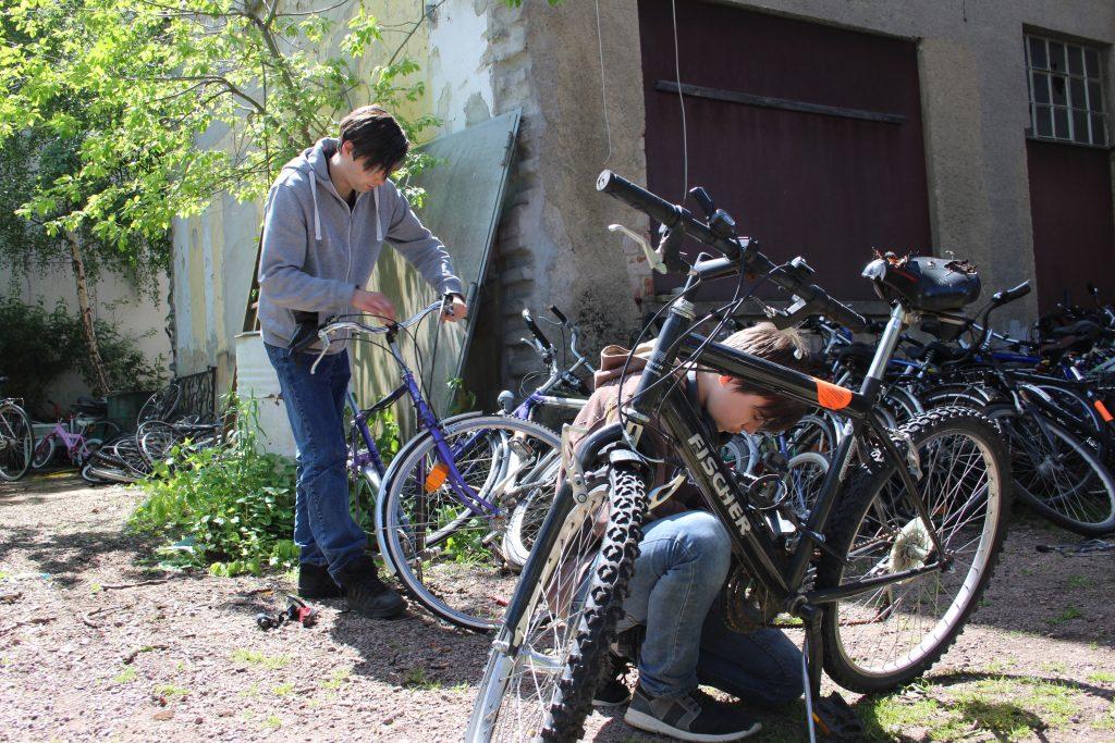 Praktikum in der Fahrradwerkstatt. Praktikant und Azubi sind im Freien. Beide arbeiten an einem Fahrrad.