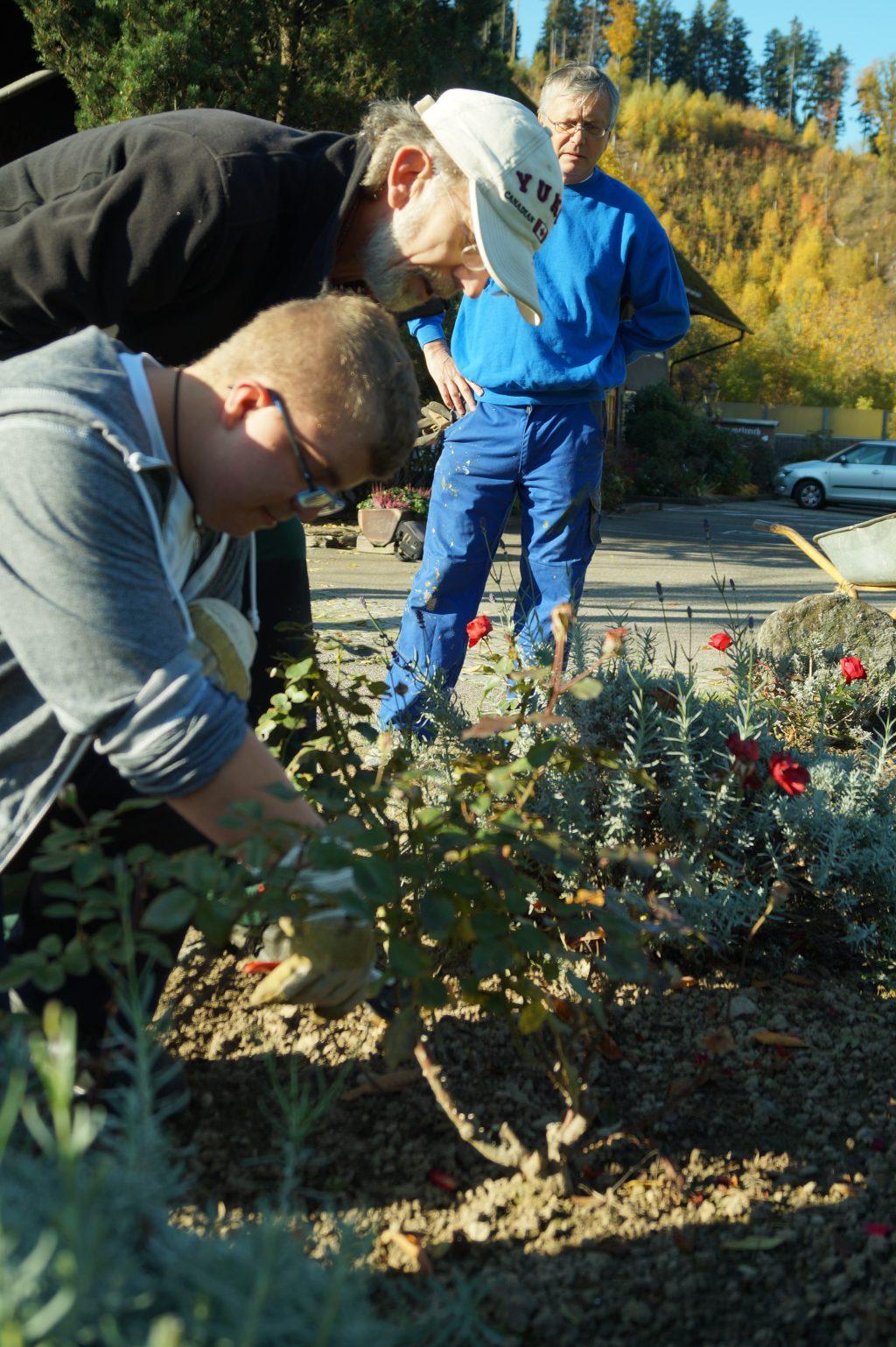 Ein Teilnehmer und sein Anleiter gärtnern an einem Hochbeet.