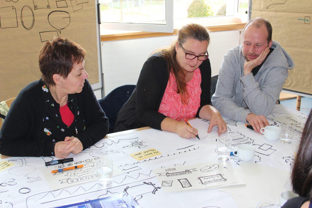 Zwei Frauen und ein Mann sitzen vor großen, reichhaltig beschriften und bemalten Papierbögen und entwickeln Ideen.