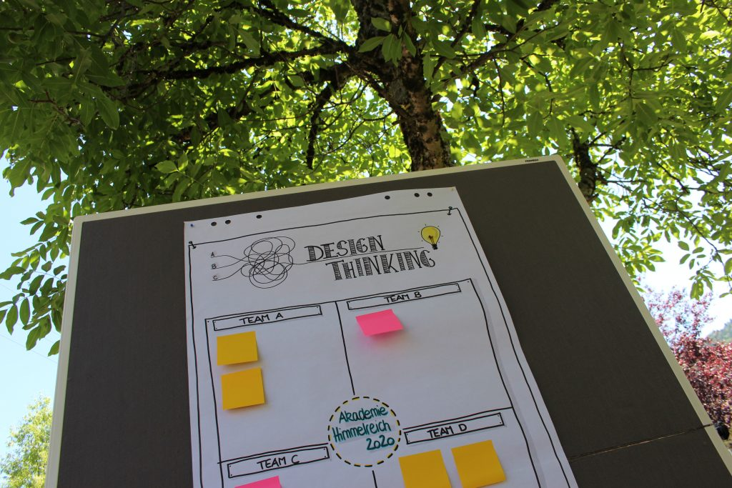 Design Thinking im Freien. Ein ensprechendes Plakat hängt an einer Stellwand, die unter einem großen, einladenden Baum steht.
