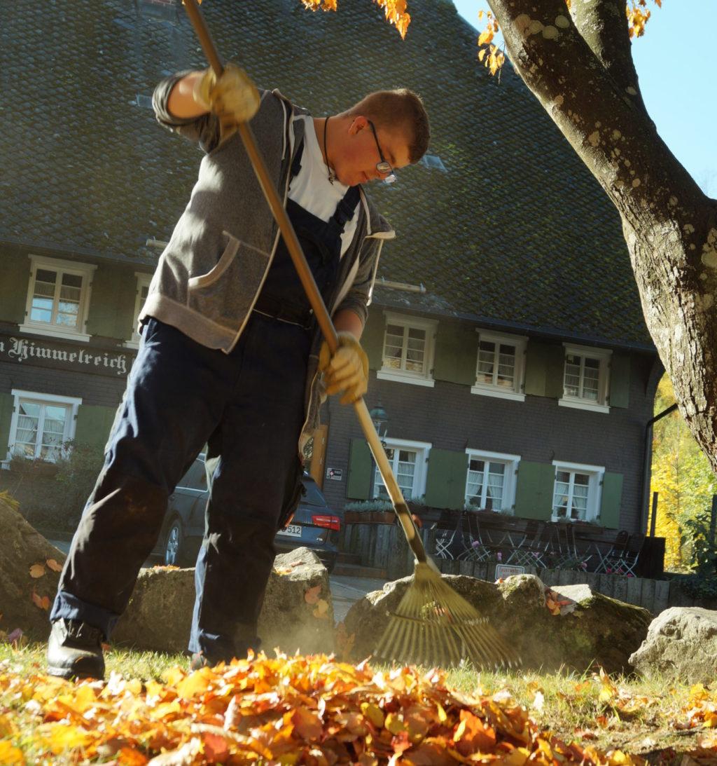 Auf diesem Bild ist ein Teilnehmer der BvB-Reha zu sehen, der im Garten arbeitet und Laub zusammen recht.