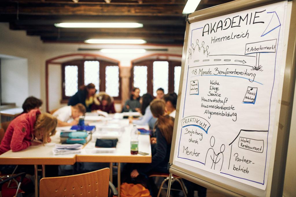 Im Schulungsraum. Ich Vordergrund ein Flipchart mit Infos zum Ablauf der BvB-Reha, im Hintergrund die Lerngruppe bei der Arbeit
